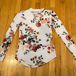 White floral print high neck top